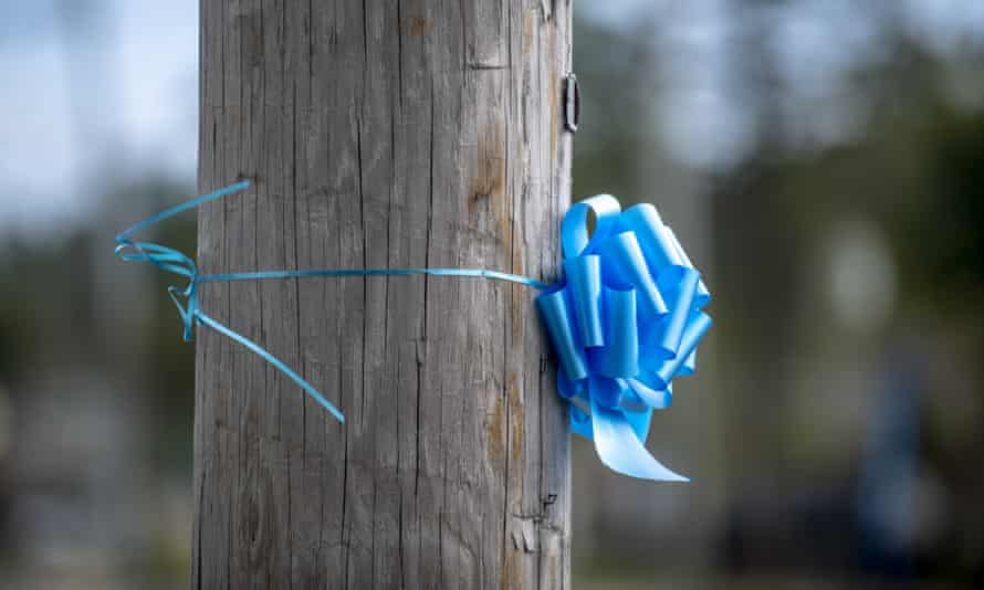 Blue ribbons in memory of Petito are scattered across her hometown of Blue Point, New York.