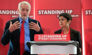 Labour leader Jeremy Corbyn with Shami Chakrabarti at the release of her inquiry into antisemitism in the part on 30 June.