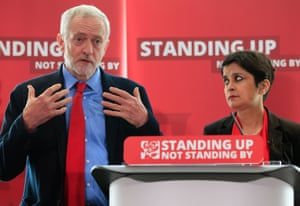 Jeremy Corbyn with Shami Chakrabarti in June 2016, at the launch of her report into antisemitism in Labour