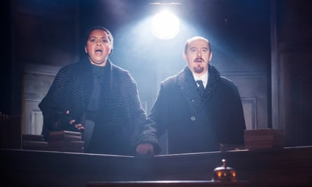 Literature as a form of social engineering … Lenin, played by Forbes Masson, right, with Sarah Quist as Nadya.