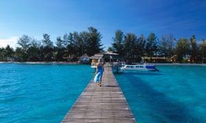 Boardwalk at Derawan Dive Resort.