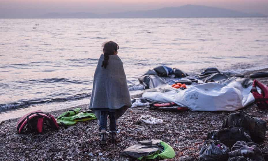 A newly arrived refugee in Lesbos, Greece, February 2016