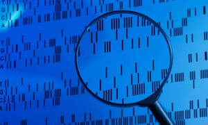 A DNA sequence examined under a magnifying glass in a laboratory