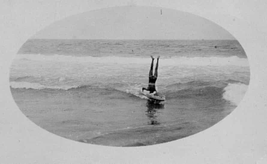 Tommy Walker surfing in 1911