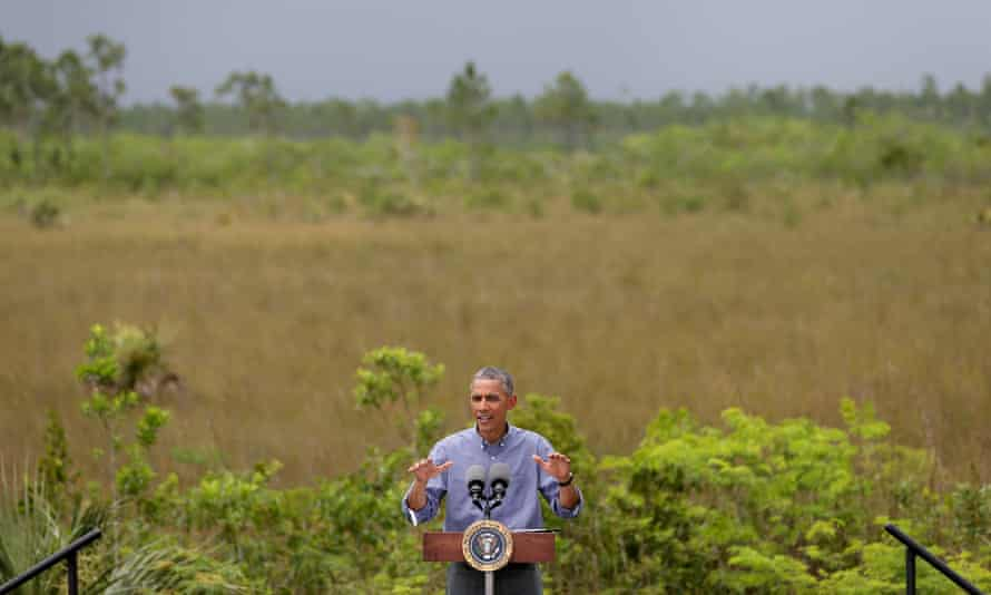 President Barack Obama visits the Everglades national park in Florida to speak about the threat that climate change poses to the economy and to the world.