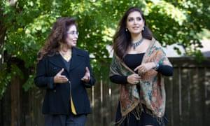 Mozhdah Jamalzadah and her mother Nasrin at their backyard near Vancouver, Canada.