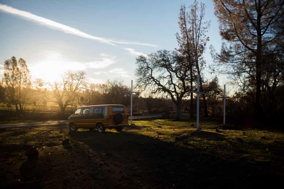 The van where William Goggia left his cat during the fire.
