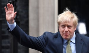Britain's Prime Minister Boris Johnson waves as he leaves 10 Downing Street for an audience with the Queen