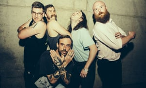 Joe Talbot (centre) with Idles … 'I'm not the next Billy Bragg.'