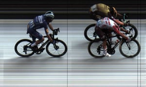 The photo-finish handout shows Ewan's margin of victory over Dylan Groenewegen.