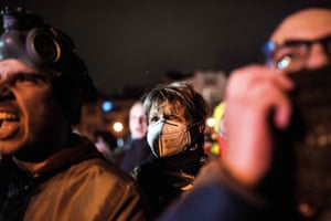 A woman wearing a gas mask takes part in a protest against air pollution and to call for new measures to alleviate the country's suffocating air pollution in Skopje on December 28, 2016. High pollution levels have been plaguing Macedonia for years, especially the cities of Skopje and Tetovo, which are among Europe's most polluted areas. / AFP PHOTO / Robert ATANASOVSKIROBERT ATANASOVSKI/AFP/Getty Images