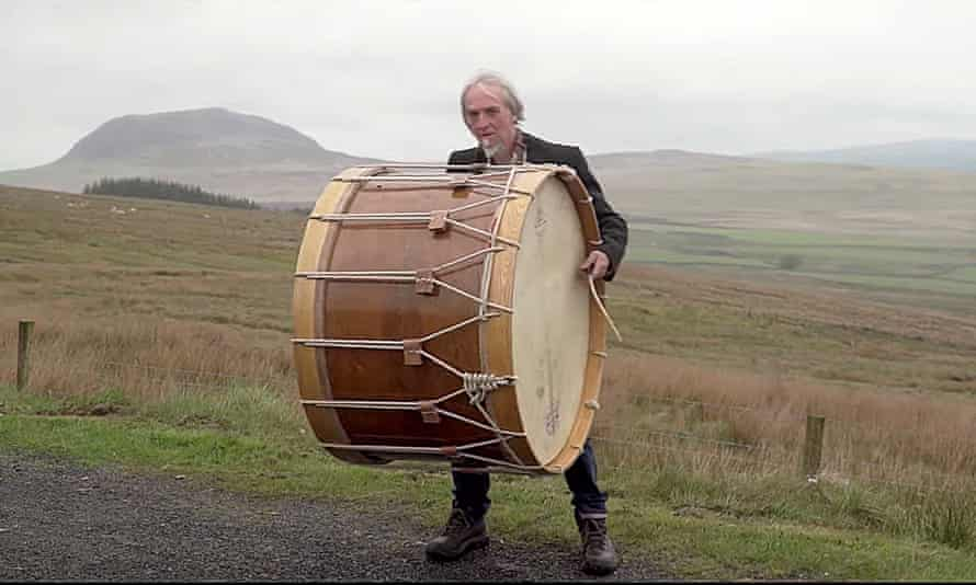 Willie Drennan with the Lambeg drum in the music video