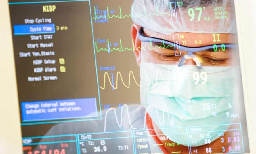 Montage of surgeon and monitor readout of vital signs