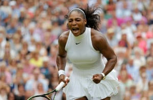 Serena Williams celebrates during her victory over Angelique Kerber in the women's singles final during day twelve of the 2016 Wimbledon tennis championships.