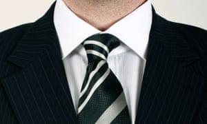 man in black striped suit.
