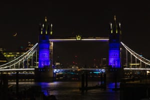 Tower Bridge, London is illuminated in blue this evening in recognition and appreciation of the NHS
