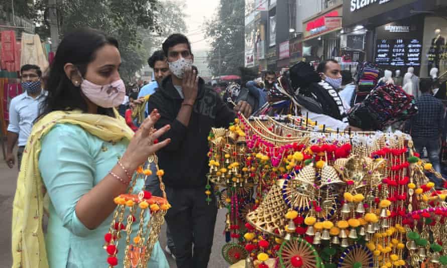 A woman shopping at Lajpat Nagar market in Delhi earlier this week.