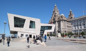 Liverpool ferry terminal and the Three Graces.
