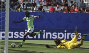 Nigeria's Asisat Oshoala takes the ball around South Korea's goalkeeper Kim Min-jung on her way to scoring her side's second goal