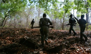 Naxalite patrol in the Abujh Marh forests in the central state of Chattisgarh, India, 2007.