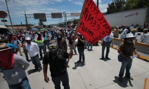 Demonstrators from the from teachers union block the Mexican Federal Highway Autopista del Sol, preventing supplies from reaching the Chiapas and Oaxaca States.