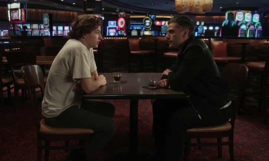 Tye Sheridan as Cirk and Oscar Isaac as Tell in The Card Counter.