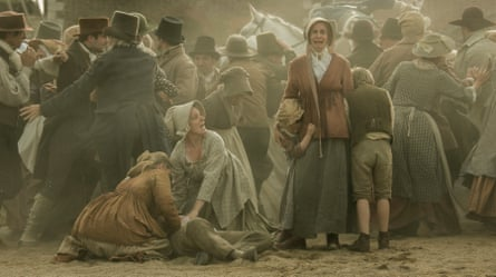 Crowd scene in Mike Leigh's Peterloo