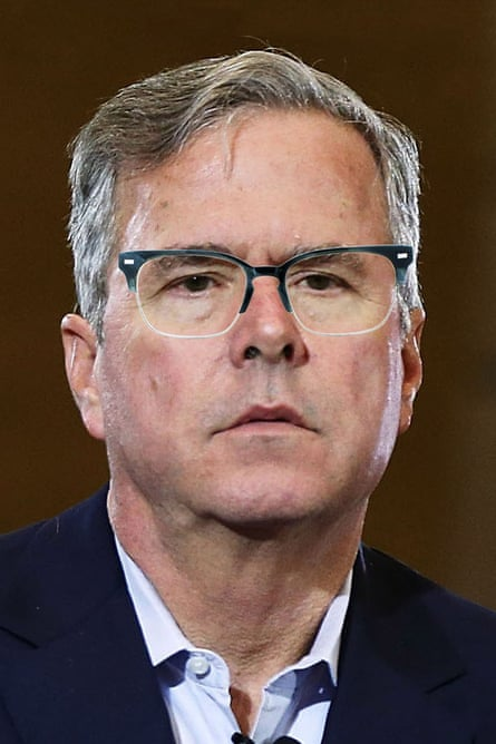 Jeb Bush photoshopped by The Guardian to wear Warby Parker Ames in Graphic Fog.