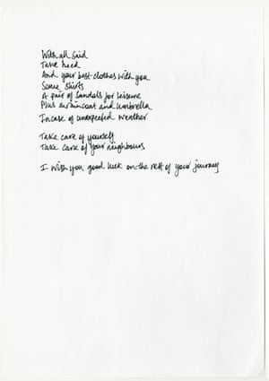 Poem by Wilson Oryema, handwritten by Michael Walters.