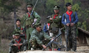 Members of the Ta'ang National Liberation Army rebel group in Myanmar's northern Shan state in 2014.