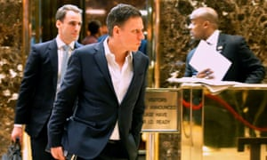 Entrepreneur Peter Thiel, now on Trump's transition team, leaves a meeting at Trump Tower.