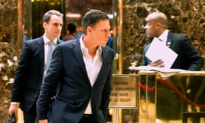 Entrepreneur and investor Peter Thiel after a meeting at Trump Tower in New York. He circumvented the first amendment and closed the Gawker site, which had outed him as gay.