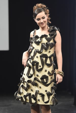 French actress Tiphaine Haas in a chocolate dress during the Paris chocolate fair