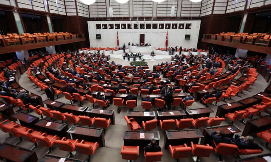 Turkish MPs attend a general assembly to discuss the state of emergency bill in parliament in Ankara.