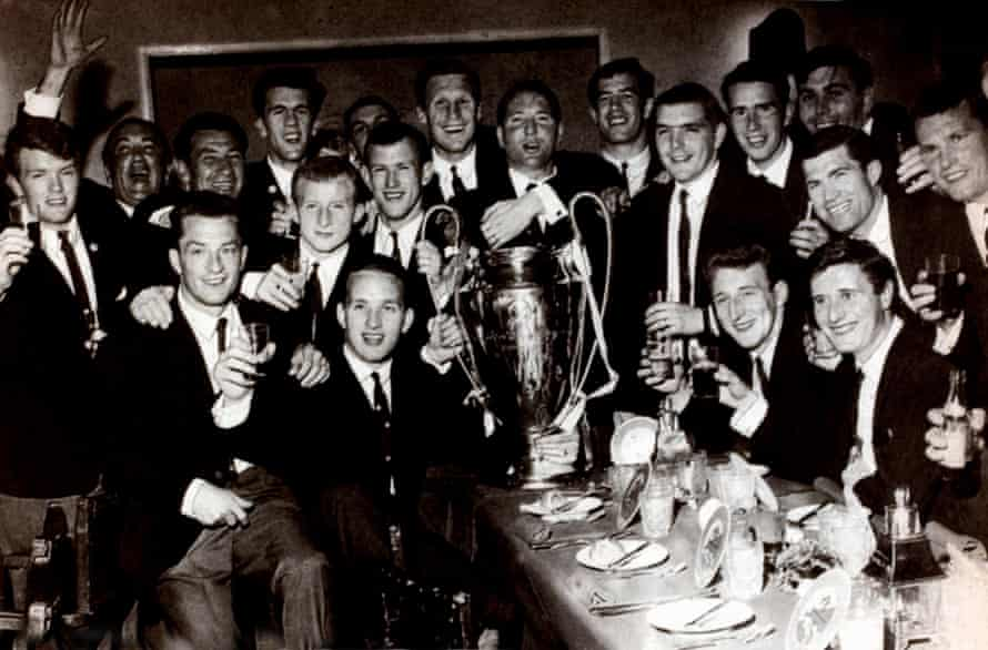 The Celtic players enjoy a banquet after winning the biggest prize in club football.