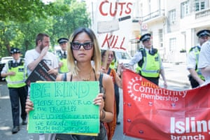 The protesters are demanding amnesty for residents of Grenfell Tower who may have been in the UK illegally.