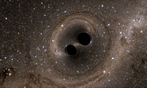 A computer simulation of two black holes colliding - an event detected this week for the first time ever.