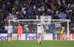 Everton's Wayne Rooney looks dejected after Alejandro Gomez doubled Atalanta's lead.