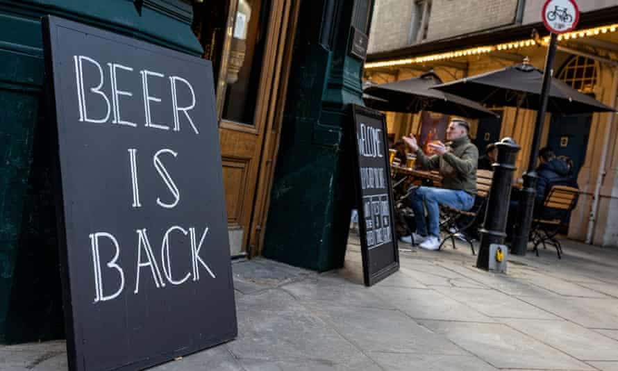 A sign outside a pub in central London last week.