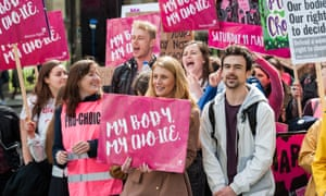 Pro-choice supporters stage a demonstration in Parliament Square to campaign for women's reproductive rights, legalisation of abortion in Northern Ireland and it's decriminalisation in the UK in May 2019
