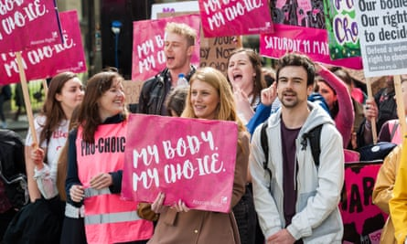 A pro-choice demonstration in Parliament Square, London.