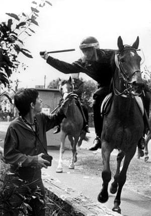 Lesley Boulton: 'These two mounted police bore down on me.'