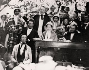 A daguerreotype of the Fugitive Slave Law Convention at Cazenovia, New York, on 22 August 1850, Douglass seated at left.