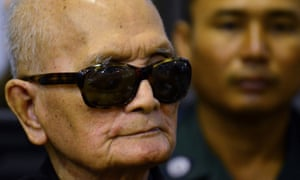 Former Khmer Rouge leader Nuon Chea arriving at the court in Phnom Penh.