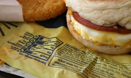 Nutritional information on the wrapper of a Egg McMuffin at a McDonald's in California.