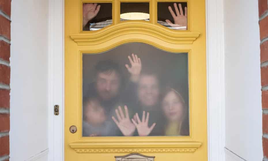 Artist Faye Bridgwater with her family under lockdown in Brighton.