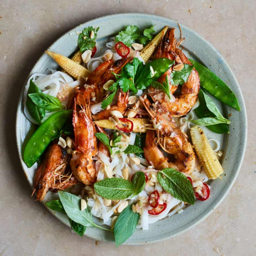 Lara Lee's seared prawns with hot and sour salad.
