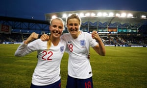 Beth Mead and Ellen White celebrate after England's win.