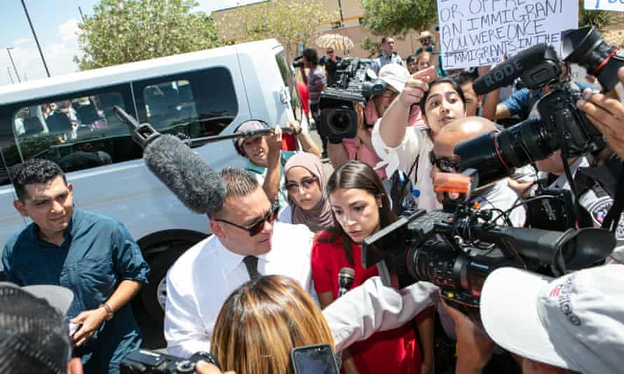 Alexandria Ocasio-Cortez is swarmed by the media after touring the Clint, Texas, border facility.