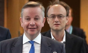Michael Gove and Dominic Cummings arriving at the Conservative party conference in Birmingham in 2012.